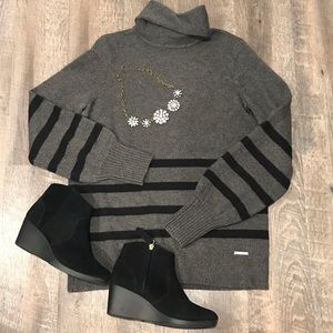 MICHEAL Micheal Kors Gray w/ Black Stripes Sweater